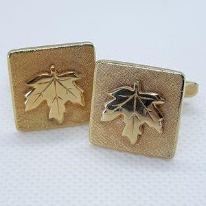 VTG Gold-Tone Maple leaf Cuff links